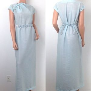 VTG pastel blue long dress evening gown prom 1960s